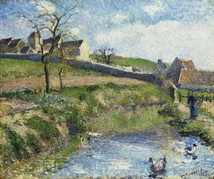 Famous paintings of Ducks: The Farm at Osny, 1883