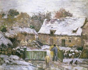 Famous paintings of Palisades: A Farm at Montfoucault- Effect of Snow, 1876
