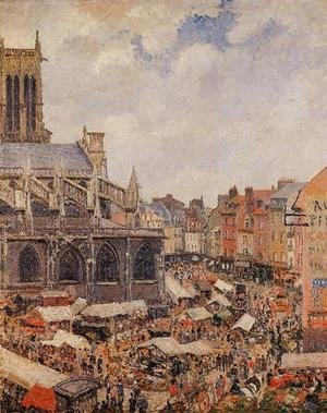 Famous paintings of Markets: The Market Surrounding the Church of Saint-Jacques, Dieppe, 1901