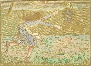Famous paintings of Sport and Games: Girls Playing Tennis, from 'Woodcuts in Line and Colours',  1891