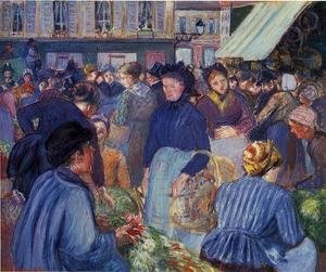 Famous paintings of Markets: The Market at Gisons, 1889