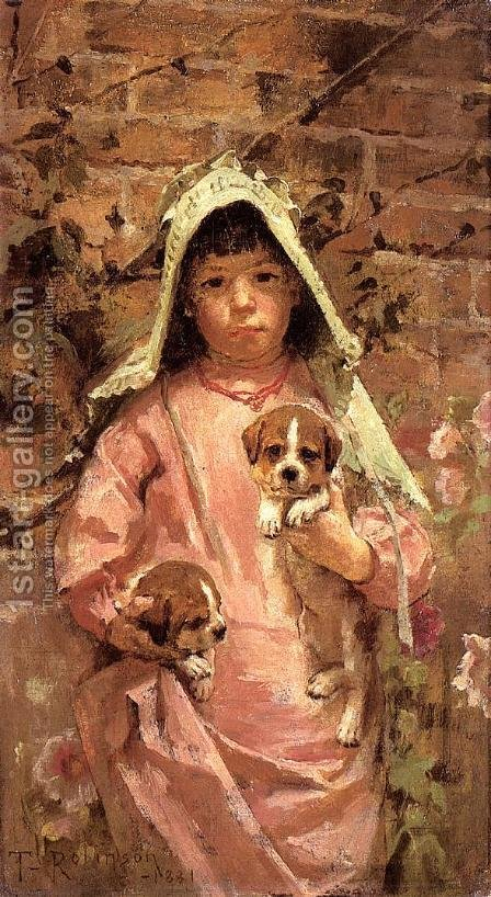 Girl with Puppies, 1881 by Theodore Robinson - Reproduction Oil Painting