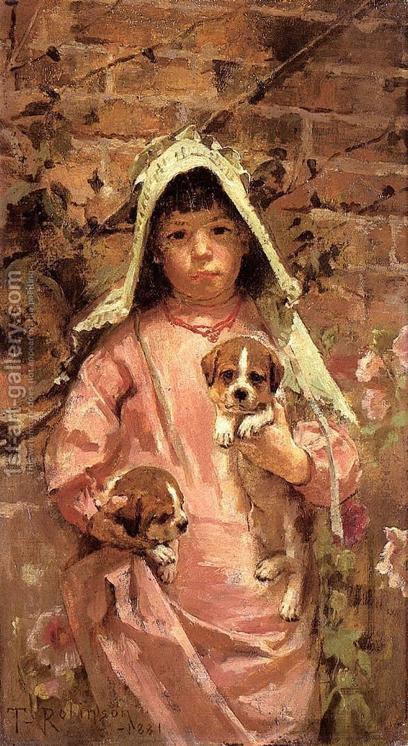 Huge version of Girl with Puppies, 1881