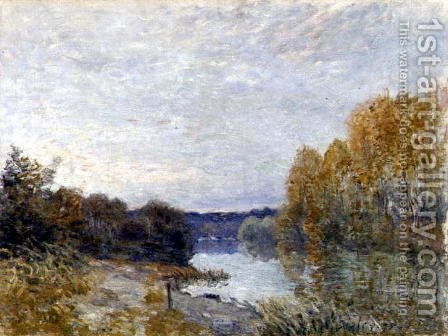 Soleil Couchant, or Autumn Evening on the River, 1895 by Alfred Sisley - Reproduction Oil Painting