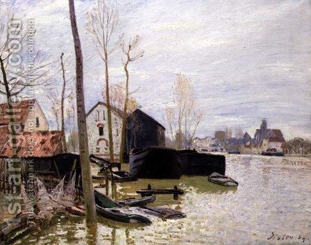 The Floods at Moret-sur-Loing, 1889 by Alfred Sisley - Reproduction Oil Painting