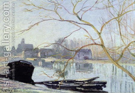 Le Loing-gelee Blanche, 1889 by Alfred Sisley - Reproduction Oil Painting