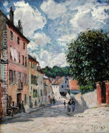 A Street, possibly in Port-Marly, 1876 by Alfred Sisley - Reproduction Oil Painting