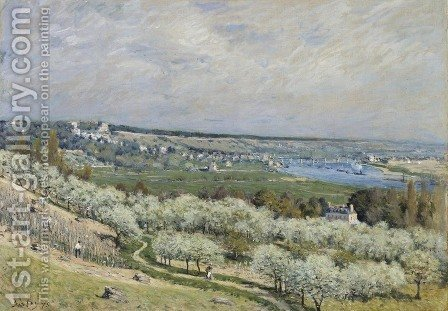 The Terrace at Saint-Germain, Spring, 1875 by Alfred Sisley - Reproduction Oil Painting