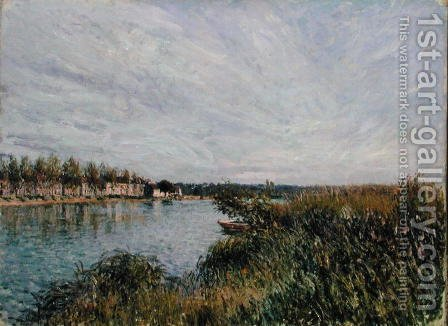View of Saint-Mammes, c.1880 by Alfred Sisley - Reproduction Oil Painting