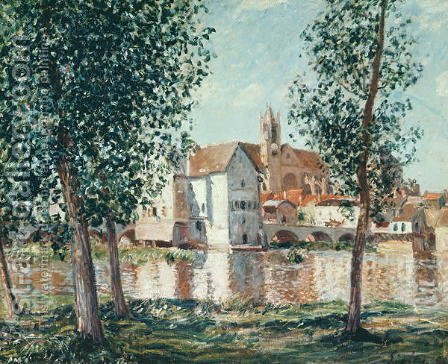 The Loing at Moret, September Morning by Alfred Sisley - Reproduction Oil Painting