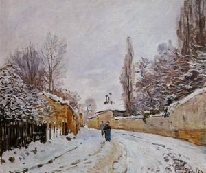 Famous paintings of Villages: Road under Snow, near Louveciennes, 1876