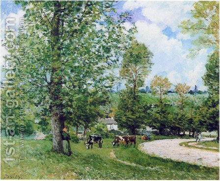 Cows in Pasture, Louveciennes, 1874 by Alfred Sisley - Reproduction Oil Painting