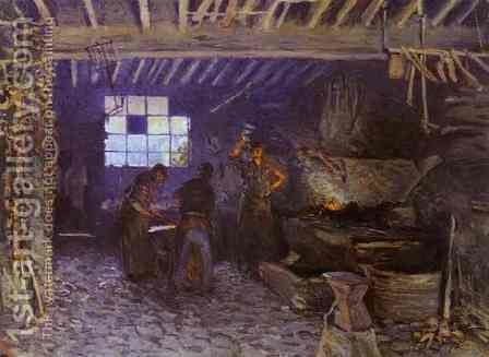 The Forge at Marly-le-Roi, Yvelines, 1875 by Alfred Sisley - Reproduction Oil Painting