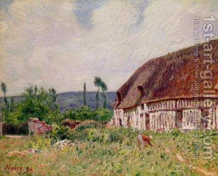 Thatched Cottage in Normandy, 1894 by Alfred Sisley - Reproduction Oil Painting