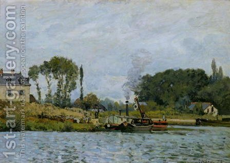 Alfred Sisley: Boats at the lock at Bougival, 1873 - reproduction oil painting