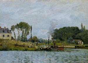 Reproduction oil paintings - Alfred Sisley - Boats at the lock at Bougival, 1873