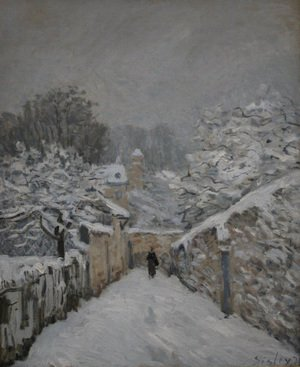 Famous paintings of Villages: Snow at Louveciennes, 1878