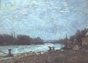 Reproduction oil paintings - Alfred Sisley - After the Thaw, the Seine at Suresnes Bridge, 1880