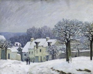 Reproduction oil paintings - Alfred Sisley - The Place du Chenil at Marly-le-Roi, Snow, 1876