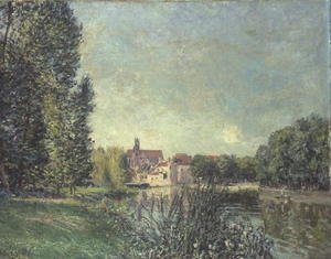 Reproduction oil paintings - Alfred Sisley - The Loing Canal and the Church at Moret, 1886