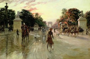 Famous paintings of Transportation: The Champs Elysees, Paris