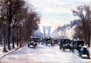 Famous paintings of Cars: Towards the Arc de Triomphe, Paris, 1928