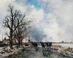 Famous paintings of Sport and Games: Skaters on the River Schie, near Rotterdam, 1866