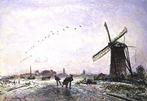 Famous paintings of Sport and Games: Ice-Skaters in Holland, 1872