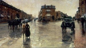 Famous paintings of Horses & Horse Riding: A Rainy Day in Boston