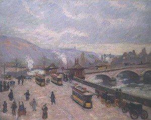 Famous paintings of Trams: The Pont Corneille at Rouen, 1898