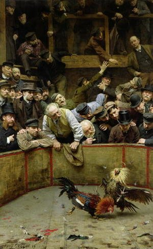 Famous paintings of Other: The Cockfight 1889