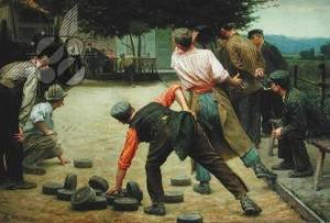 Famous paintings of Sport and Games: A Game of Bourles in Flanders 1911
