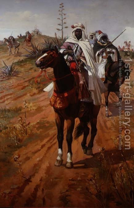 Arab Horsemen by J. Colaco - Reproduction Oil Painting