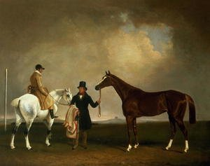 Famous paintings of Sport and Games: Mr Sadlers  Decisive held by his Trainer with the jockey John Day Jnr,  Stockbridge Racecourse, 1843