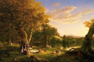 Romanticism painting reproductions: The Picnic   1846