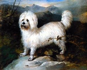 Naturalism painting reproductions: Small White Dog in a Landscape