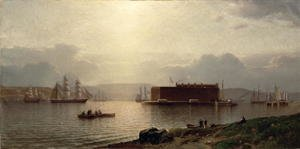 Naturalism painting reproductions: The Narrows and Fort Lafayette  Ships coming into Port  New York Harbour  1868