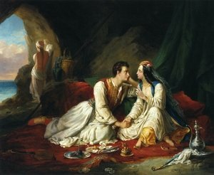 Famous paintings of Caves: Byron as Don Juan, with Haidee, 1831