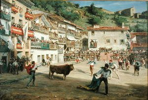 Famous paintings of Sport and Games: Training Fight in Biscay 1869