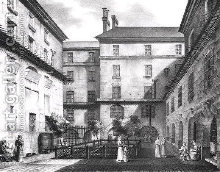 View of the Women's Yard at the Conciergerie Prison 1831 by (after) Collard - Reproduction Oil Painting