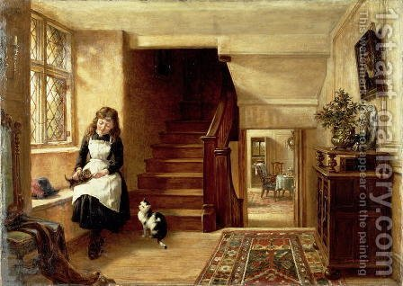 Robert Collinson: An Interior with a Girl Playing with Cats - reproduction oil painting