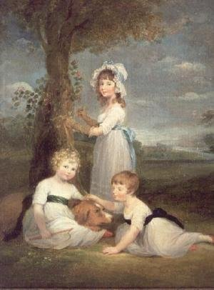 William Collins reproductions - The Earl of Lincoln, Lady Anna Maria and Lady Charlotte Pelham Clinton, the Children of the 4th Duke of Newcastle