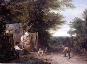 William Collins reproductions - At the Cottage Gate