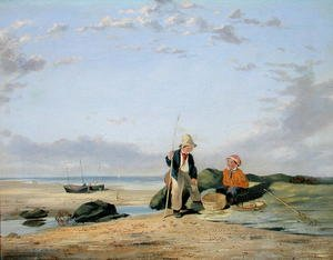 Reproduction oil paintings - William Collins - Figures on a Beach