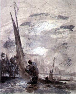 Reproduction oil paintings - William Collins - Figures with Cart and Boats on the shore, near cliffs