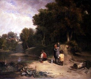 Reproduction oil paintings - William Collins - The Minnow Catchers