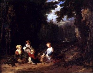 Reproduction oil paintings - William Collins - Young Children Picking Hops, c.1835