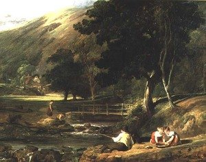 Reproduction oil paintings - William Collins - Borrowdale, Cumberland, with Children Playing By A Stream, 1823