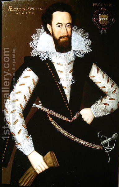 Portrait of Sir William Stewart of Grandtully (1567-1646) 1613 by Adam de Colone - Reproduction Oil Painting