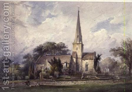 View from the South-east of a Church and a Churchyard by J. Colson - Reproduction Oil Painting